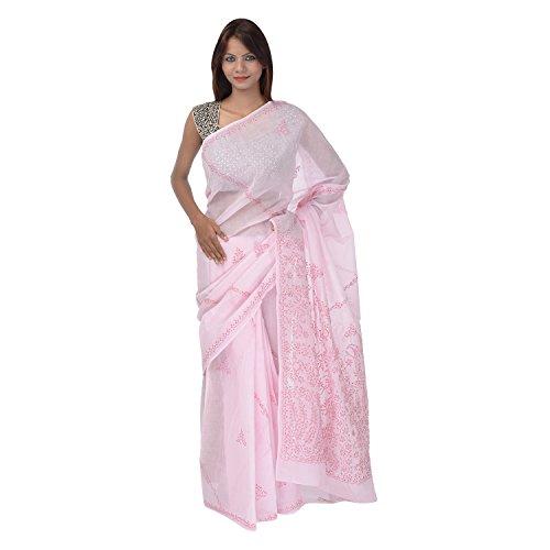 Saundarya Sarees Women Cotton Chikan Pink Saree