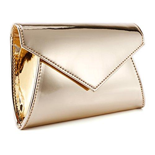 Spiegel Effekt Clutch Abendtasche Handtasche Umhaengetasche Frauentasche Hochzeit Tanzball 3 Farbe Golden