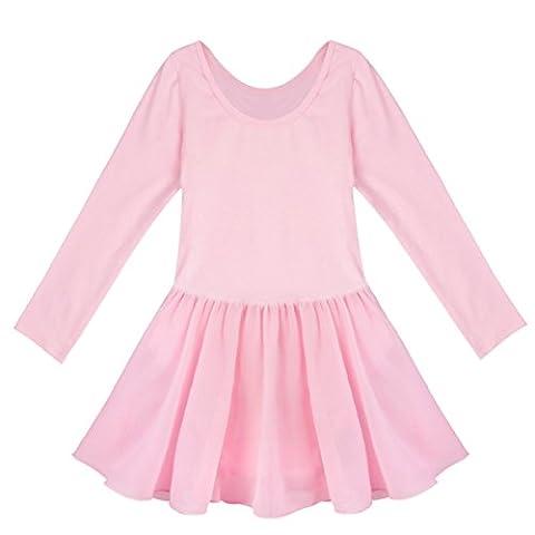 iiniim Mädchen Kinder Ballettkleid Lange Ärmel Ballett Turnanzug Tutu Gymnastikanzug Leotards Ballettkleid Ballettanzug Rosa 110-116/ 5-6 Jahre