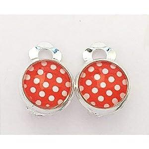 Kinder Ohrclips oder Stecker Punkte rot weiß dots Pünktchen 10mm Motiv Cabochon Ohrringe handgefertigt by Schmuckphantasien in silber auch als Ohrstecker handmade clips for kids