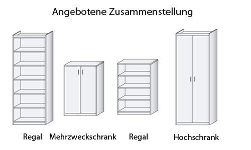 Schrank-Kombination in Buche B/H/T ca. 288/194/36 in Buche-Dekor aus Soft Plus von CS Schmal - 3