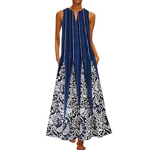 Zottom,übergröße Damen Abendkleider,Damen Plus Größen-Druck-tägliches beiläufiges ärmelloses Weinlese-böhmisches V Ansatz Maxi Kleid (Deluxe Indische Kostüm)