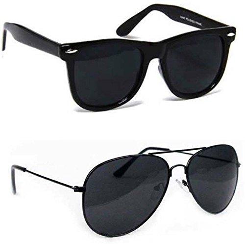 BLUTECH combo Wayfarer, Aviator Sunglasses (Black, Black)