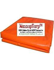 WASSUP Plastic Tarp Tarpaulin 100% Pure Virgin UV Treated 170 GSM (Orange Blue,12 x 9)