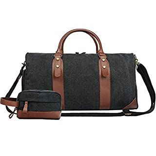 Large Overnight Bag Weekend Bag Holdalls for Women and Men, Leather Canvas Travel Duffle Bag Set with Shoe Compartment, Include Toiletry Organizer Bag (black set)