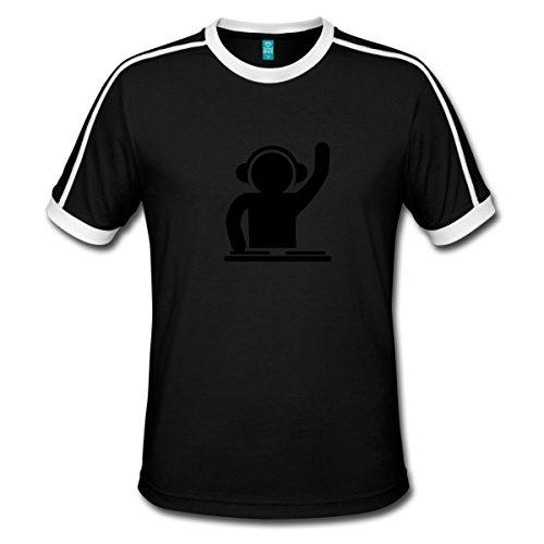 Schwarzes Retro-shirt (Spreadshirt DJ Techno Party Club Musik Männer Retro-T-Shirt, XL, Schwarz/Weiß)