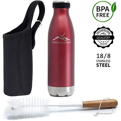 FALCKENSTEIN® Thermosflasche Edelstahl Trinkflasche Wasserflasche Isolierflasche Thermoflasche Kinder Kohlensäure geeignet auslaufsicher spülmaschinenfest BPA frei Rot