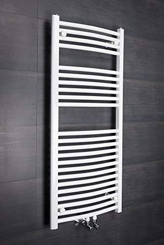 WarmeHaus Handtuchheizkörper Badheizkörper Handtuchwärmer 1150x500mm Weiß gebogen