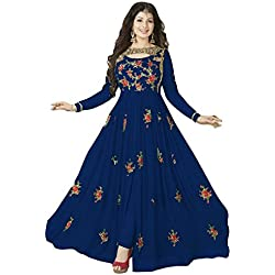 Clothfab Women Georgette Heavy Embroidery Work Pary Wear Anarkali Style Semi-Stitched Salwar Suit Dress Material With Dupatta (Blue-Colour)