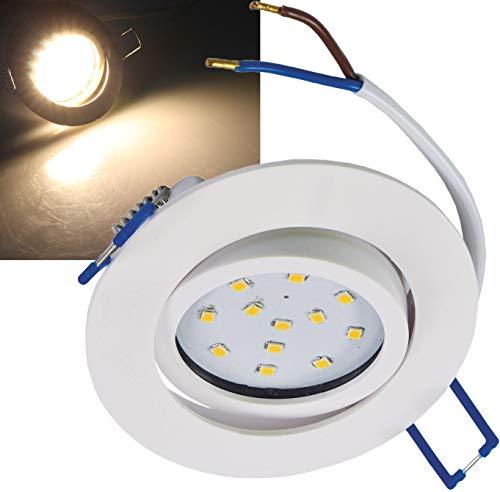 ChiliTec LED Einbauleuchte Deckenspot 5W 500 Lumen warmweißes Licht weißes Gehäuse Alu 5 W, 1 Stück -