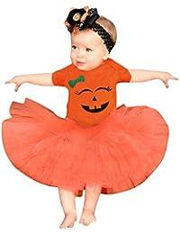 Conjuntos Bebe, ASHOP 0-24 Meses Niña Otoño/Invierno Ropa Conjuntos, Sonrisa de Dibujos Animados Impresión Mameluco + Falda de Halloween