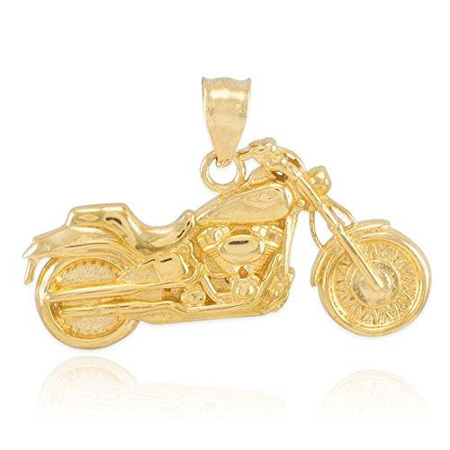 Kleine Schätze - 10 Karat Gold Motorrad- Anhänger Halskette (Kommt mit einem 45 cm Kette)