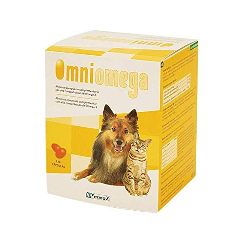 Hifarmax Omniomega Suplemento Alimenticio con Omega 3, DHA, EPA y Vitamina E para Perros y Gatos - Especial para Piel, Pelo, Riñón y Otras Patologías -120 cápsulas