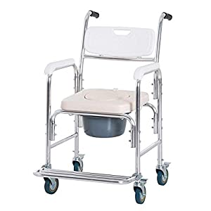 ALHJ Silla WC con Rueda,Ligero Aluminio Silla De Baño-Móvil Taburete De Baño con Asiento Acolchado para Personas Mayores…