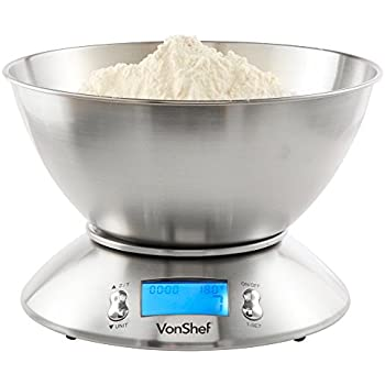VonShef High Quality 5kg/11lb Digital Electronic Kitchen Scales with Stainless Steel Mixing Bowl, Free 2 Year Warranty