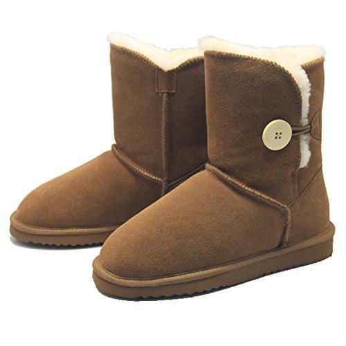 BamboBär Button Boots mit Lammfell und echtes Leder Damen Stiefel Schlupfstiefel Winter Boots (39, Braun Chestnut) (Schnee Stiefel Echtes Leder)