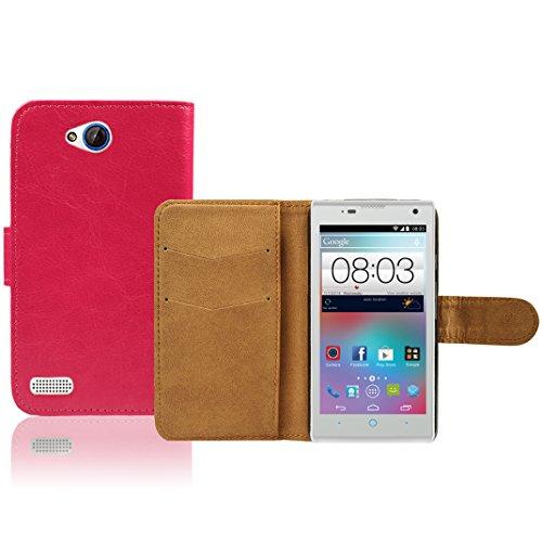 ZTE Kis 3 Max Premium Leder Flip Case - Pink Pu Leder SchutzHülle Brieftasche Case Für ZTE Kis 3 Max - thinkmobile