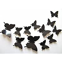 Romote Conjunto DE 12 Piezas de la Mariposa 3D desprendibles de la Pared Tema Adhesivo Pegatinas de Pared para la Decoración casera (Negro)