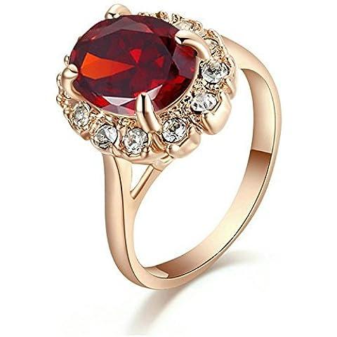 Yoursfs principessa Diana Style Vintage rubino anello rosso in oro rosa 18 carati placcato ovale gemma Solitaire nozze anelli di fidanzamento di Kate Middleton