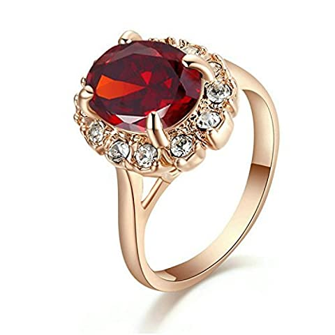 Yoursfs Red Stone Ring with Ruby Diamante Anniversary Crystal Rings Fashion Jewellery for Women Wife