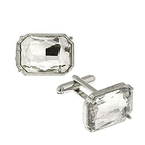 1928 Jewelry Silver-Tone Rectangle Crystal Cuff Links