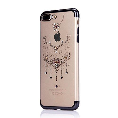 iPhone 6S Plus Strass Hülle,iPhone 6 Plus Handyhülle,JAWSEU Luxus Cool Kreative Shiny Sparkle Halskette Muster Rose Gold Plating Crystal Klar Silikon Bling Glitzer Shiny Bumper Case Schutzhülle Diaman Schwarz,Halskette