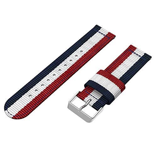 rmband 20mm für Samsung Galaxy Watch 42mm Gewebte Nylon Armbanduhr Doppelfarbige Wasserabweisend Uhrenarmband mit Edelstahl Schnalle Armband für Damen Herren (B) ()