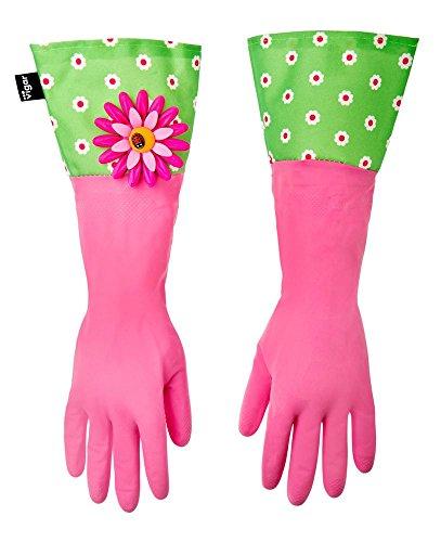 Vigar Flower Power - Guantes de cocina, color rosa y verde