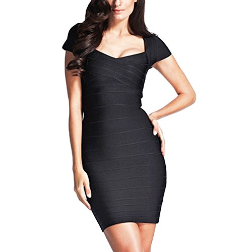 HLBandage Cap Sleeve V Neck Women Rayon Bandage Dress Noir