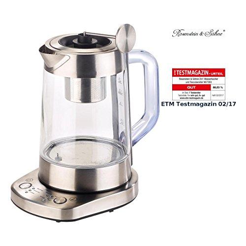Rosenstein & Söhne Teeautomat: 2in1-Wasserkocher & Teebereiter, Senk-Sieb, 6 Temperat, 1,5l, 1500W (Tee und Wasserkocher) -
