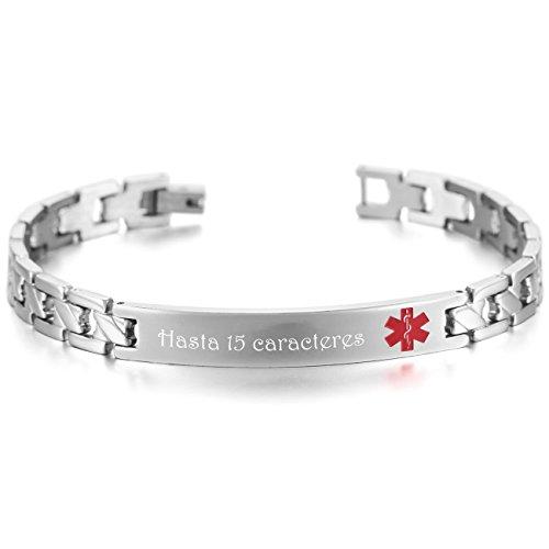 MeMeDIY El Tono De Plata Acero Inoxidable Pulsera Brazalete Alerta Médica Identificación Cadena Eslabones Link Enlace - Grabado personalizado