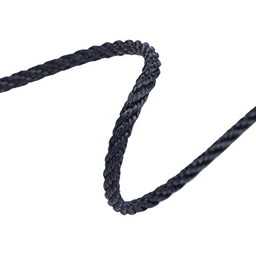 Twist Rope Cord Trimming, Braided,For Piping or Edging, Home Décor&Furnishings.Poly Viscose Sheen,25 Stunning Fashion and Standard Colours.High Strength, Functional,Supple Handle - Black - 5 Yards by Neotrims Fastening Tapes, Hook & Eye, Poppers & More (Poly Cord)