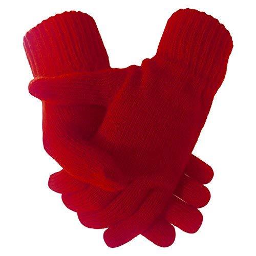 Damen Super Weich Warm Feinstrick Thermo Winterhandschuhe - Damen, Rot, Einheitsgröße