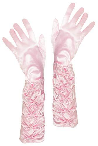 Für Flapper Kostüm Girl Kids - Das Kostümland Prinzessin Handschuhe mit Raffung und Perlen - Rosa - Zubehör Satin Gloves Princess Show Tänzerin Flapper Girl Diva Abendkleid Kostüm Karneval Junggesellenabschied Mottoparty Tanzshow
