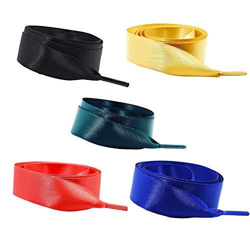 Jurxy 5 Paar Satin Flache Schnürsenkel Seidenband Flacher Shoestring 1.2M für Sportschuhe, Laufschuhe, Bergschuh, Outdoorschuh Grün / Blau / Rot / Schwarz / Gelb -