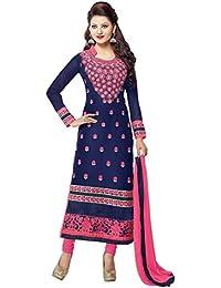 Styles Closet Women's Blue Colour Georgette Straight Salwar Suit(Blue,Free Size)