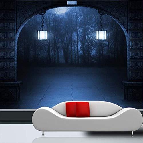 (Weaeo Benutzerdefinierte Fototapete Halloween Thema Tapete Horror Dunklen Geheimnis Beängstigend Eingang Gang Korridor Flur Wandbild Tapete-450X300Cm)
