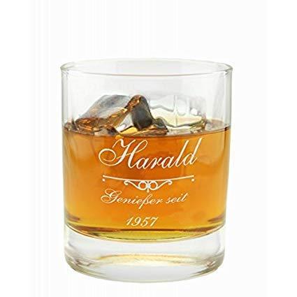 Geschenkartikel Whiskyglas mit Gravur Emblem Genießer seit Whisky Glas Deko YD 2-023-3