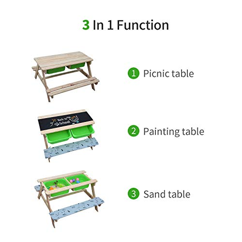 Jolitac 3 in 1 Kids Picnic Table Children's Sandpit Table with Cushions Drawing Board Wooden A Frame Picnic Bench Set Toy Storage Garden Furniture Child Play Table Activity Desk Outdoor