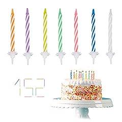 Idea Regalo - Relaxdays - Candeline per Compleanno, 152 Pezzi, con Supporto, per Torta di Compleanno, 6 cm, Multicolore