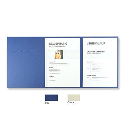 10 Stück 3-teilige Bewerbungsmappen Blau mit 2 Klemmschienen in feinster Lederstruktur - hochwertige Prägung ''BEWERBUNG'' - inkl. 10 Versandumschläge in Weiß - direkt vom Hersteller STRATAG