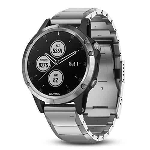 Garmin GPS-Multisport-Smartwatch Fenix 5 Plus – Music-Player mit 500 Songs - 24/7 Herzfrequenzmessung am Handgelenk, vorinstallierte Sport-Apps, integriertes GPS, Mobile Payment via NFC - Armband: Edelstahl Silber, inkl. Silikon Wechselarmband, Gehäusegröße: 47mm, Gehäusefarbe: Silber