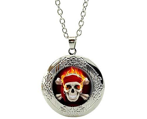 (Totenkopf Pirat Schädel Knochen Flamme Anhänger Medaillon Biker Biker Skull Halskette verstellbar 55,5-60 cm Cameleon-Shop)