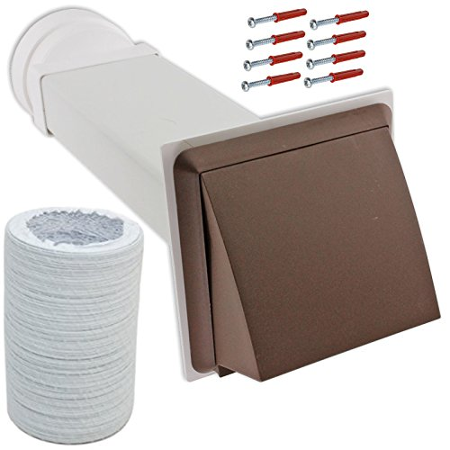 Spares2go Mur extérieur kit de ventilation et rallonge de tuyau pour sèche-linge Clatronic (Marron, 10,2 cm/102 mm)