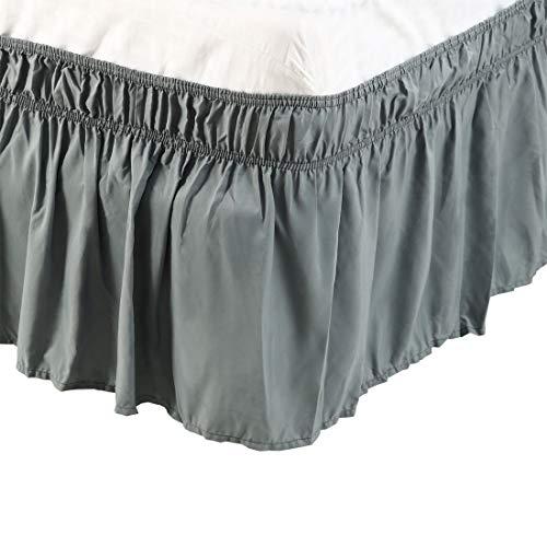 PICCOCASA Bettrock, gebürstetes Polyester, mit DREI Stoffseiten, elastischer Staub-Rüschen, leicht anzubringen, mit 38,1 cm Länge, Polyester, grau, Einzelbett-Größe -