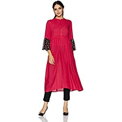 Indi lite Women's Empire Rayon Kurta (ILPP5B_Corel_Medium)