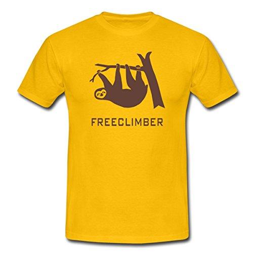 Faultier Freeclimber Sloth Freikletterer Männer T-Shirt von Spreadshirt®, L, Gelb