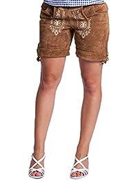 Trachten Damen Lederhose, Trachtenlederhose für Oktoberfest hellbraun damen Lederhose(38, Hellbraun)