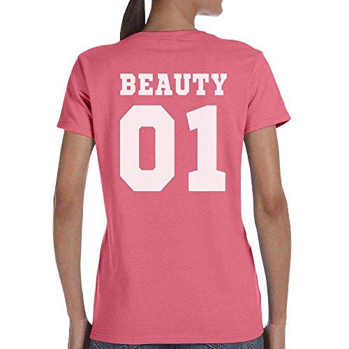 Pärchen T-Shirt Motiv Beauty & Beast Mit WUNSCHNUMMER T-Shirt Beauty/Rosa