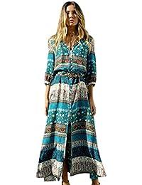 Bluestercool Femmes Robe longue imprimée florale Dress de Bohême Plage d'été